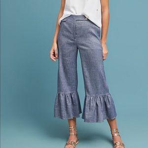 NWOT Anthropologie Linen Ruffled Chambray Pants